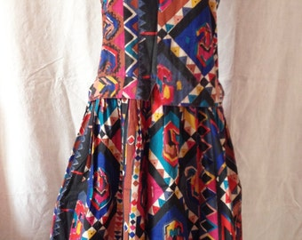 Dress vintage, sleeveless, multicolor, Gandhara, T L.