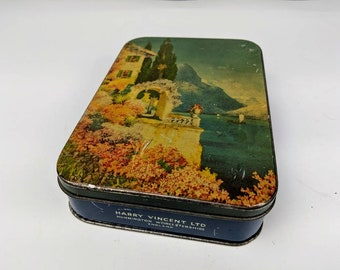 Vintage Blue Bird Tin Can Container Harry Vincent Mountain Sea Graphics