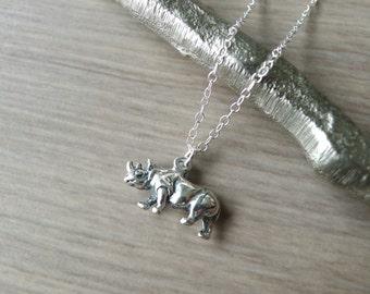 Rhinoceros Necklace, Sterling Silver, Rhino Necklace, 3D Rhinoceros, Safari Jewelry, Small Rhinoceros, Tiny Rhino, Modern Rhino, Minimalist