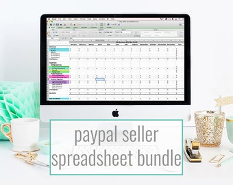 Financial Spreadsheet bundle for PayPal - monthly bookkeeping template, pricing & inventory spreadsheet for makers and PayPal sellers