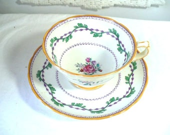 Gift For Her Anniversary Tea Cup, Copeland Spode Roses With Vine and Yellow Accent, Anniversary Gift For Her, Tea Cup and Saucer, England