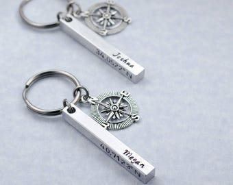 Personalized Coordinate Keychains - Valentine's Day Gift  Custom Engraved Latitude Longitude Key Rings Long Distance Relationship Separation