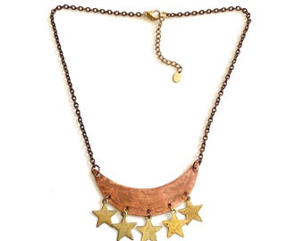 Rustic Cresent Moon and Stars Statement Necklace