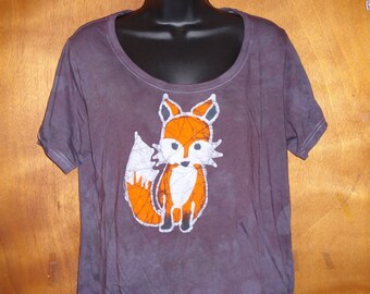 Women's Hand Painted and Dyed Batik Fox shirt