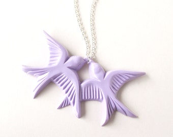 Lilac lavender purple vintage plastic swallow love birds silver necklace