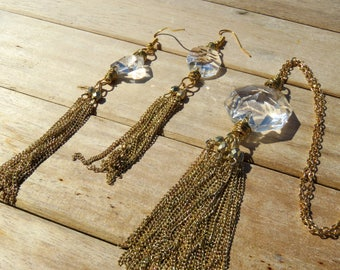 Gold Tassel Chain Necklace Set // Vintage Octagon Crystal Prism Jewelry Set // Gold Crystal Tassel Earrings
