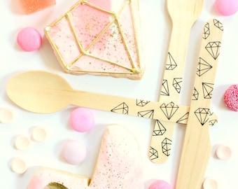Diamonds Wooden Utensils - Weddings,Engagment, Bachelorette