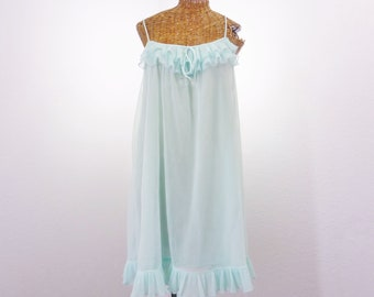 60s Evette Chiffon Ice Blue Nightgown Sheer Wide Ruffle Neck Hem L