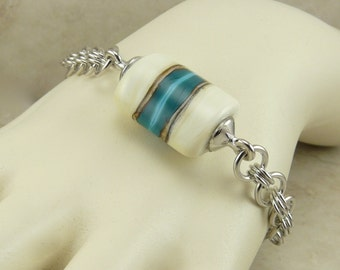 South West Turquoise and Ivory Lampwork Bead and Chainmaille Bracelet - Indian Western Organic Chain Mail Maille - I ship Internationally