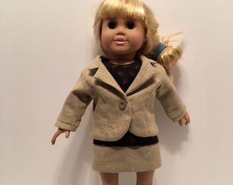 "DO14- 18"" doll Outfit: tailored green three piece suit with jacket, pants  and top"