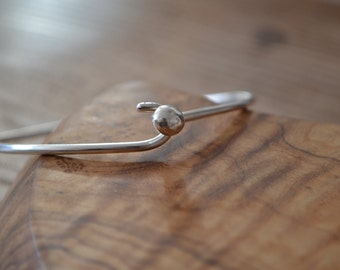 Thick silver bangle/bracelet with hook clasp. Handcrafted. Unisex