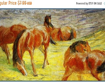 SPRING SALE DIGITAL Download Expressionist Franz Marc's Sketch of Grazing Horses Counted Cross Stitch Chart