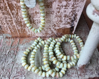 5x3mm mint with picasso finish czech rondelle beads, light green czech glass rondelles