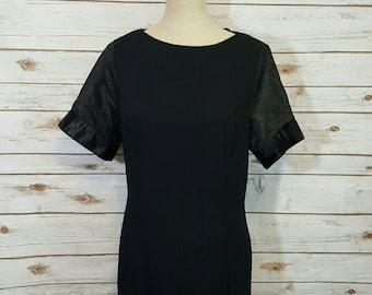 Vintage, 70's,  Black mod shift dress w/ sheer sleeves, Large