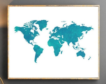 Watercolor world map world map wall art world map poster grey watercolor world map world map wall art world map poster blue world map watercolor wallpaper large world map watercolor map turquise navy gumiabroncs