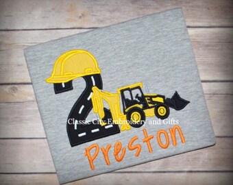 Construction birthday shirt,- backhoe shirt,- digger shirt,- construction party,- boy birthday shirt,- boy birthday party,- construction boy