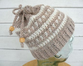 Tan Beige and White Winter Wool Messy Bun Ponytail Hat Beanie