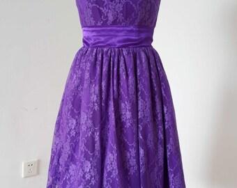 2015 A-line Purple Lace Short Bridesmaid Dress