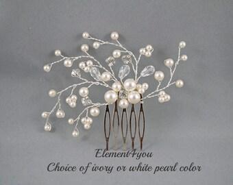 Bridal comb, Ivory pearls hair piece, Wedding hair accessories, White pearls hair comb, Flower hair vines, Rhinestone Crystal comb, Formal