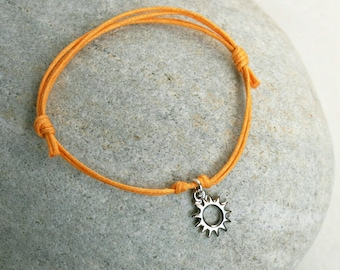 Sun Bracelet, Sun Anklet (gold or silver charm  and many cord color to choose)