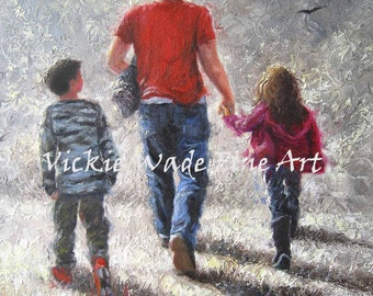 Father Son Daughter Art Print, walking with dad, dad brother and sister, boy and girl, father's day gift, father, Vickie Wade Art