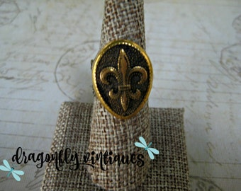 Upcycled Ring Vintage Ring Boho Chic Statement Ring Upcycled Recycled Repurposed Vintage Earring Fleur Dis Lis Gift for Her  R15