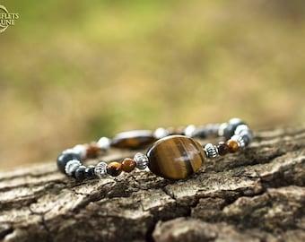 Autumn dream • larvikite and Tiger eye elastic Bracelet