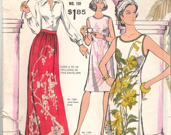 Vintage Sewing Pattern Alfred Shaheen 101 Maxi Skirt and Dresses Mod Multisize