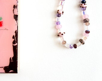 Pale pink necklace / SYBILL // Czech glass / jewellery / jewelry / sparkle / bali silver / bali toggle