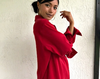 Vintage red button down shirt
