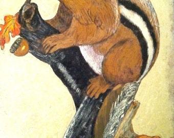 Mixed Media Chipmunk Acorn PAINTING Folk Art Signed Pederson Squirrel Vintage