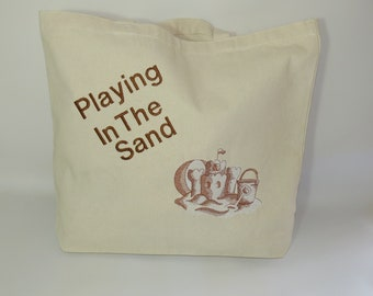 Playing in the Sand Beach Bag, Tote Bag for the Beach, Beach Bag, Tote Bag, Canvas Bag, Embroidered Tote Bag, Bag for the Beach