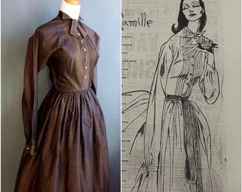 Claire McCardell dress without tags but with correct attribution 1950s tall dress 50s dress shirtdress