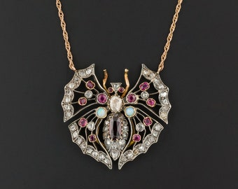 Antique Butterfly Necklace | Antique Pin Conversion Necklace | Gemstone Butterfly Necklace | Diamond Necklace | Ruby Necklace