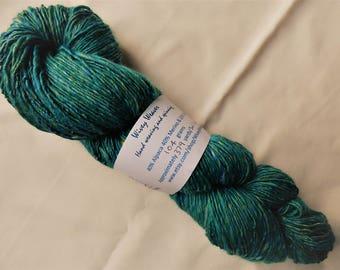 Handspun yarn - alpaca, merino and silk - 104 grams - mix of turquoise, green and white