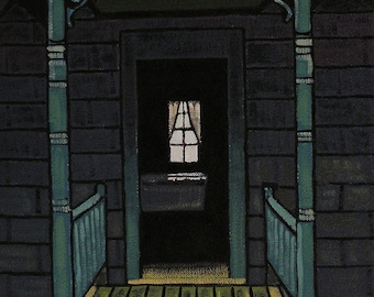 Front Porch Of An Old House, Retro Style Oil Painting, Realistic Landscape