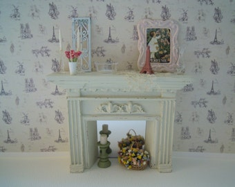 Miniature Fireplace with Candlesticks, Bowl, Vase, Pink frame Picture, Basket of Flowers, Metal Panel, Figurine for  Dollhouse 1:12th Scale