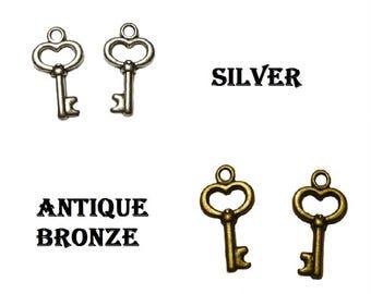Antique Bronze Alice in Wonderland Small Heart Key Charm, Tibetan Pendants