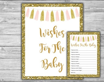 Pink and Gold - Baby Shower - Wishes For The Baby - Baby Shower - Printable - Instant Download - DIY - Pink - Gold - Tassels - 094