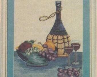 Helen Burgess Counted Thread Design. The Wine Bottle Pattern. HB4042.