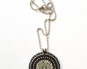 Raiders Native American Beaded Pendant Necklace