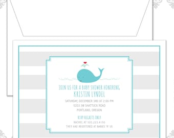Whale Baby Shower Invitation, Modern Whale Invite, Baby Shower Invite, Stripes Invite, Retro Whale Baby Shower, Baby Whale Invite