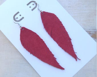 Leather Feather Earrings, Genuine Leather, Hand cut, Minimalist Boho Style, Leather Feathers, Red Suede