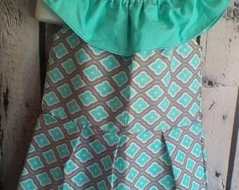 Little Girl's Summer Cotton Dress  4 T , Girl's Aqua and Gray Dress , Toddler Ruffled Shoulder Dress , Girl's Beach Dress