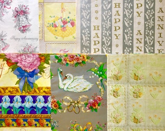 """Lot of 6 """"Wedding/Anniversary"""" Vintage Wrapping Paper // Retro Gift Wrap Marriage Happy Couple // Pretty Mid-Century Floral"""