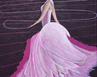 """Original Acrylic Figurative Ballet Painting Titled Classical Pink 16"""" X 20"""""""
