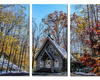 Tennessee Mountains Wedding Chapel in Forest Canvas Triptych, 3 Panel Art, LARGE, Ready to Hang