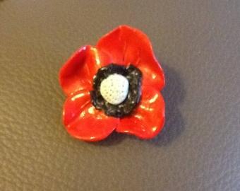 Poppy red polymer clay brooch