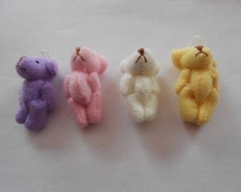 4 mini bears - for your cell phone, make keychains, or other decorations - set 2-uncut
