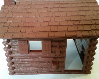 """Vintage Toy Log Cabin 1950's Marx Molded Plastic Rustic Cabin Complete 3 Sided and Roof Farmhouse Decor Prinitive Decor 6 1/2"""" x 4"""" x 6"""""""
